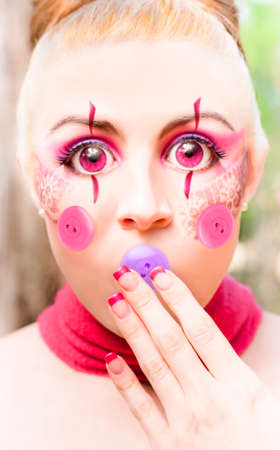 voiceless: Unusual And Different Image Of A Doll In Silence With A Button Mouth, In A Button It Concept Depicting Quiet Silence And Hush