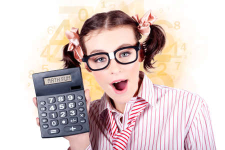 Smart Female Mathematics Teacher Holding A Math Fun Calculator In A Depiction Of Educational Tutoring Stock Photo