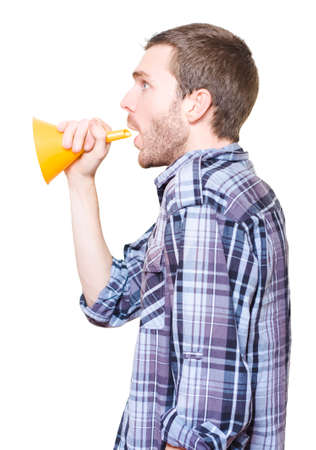 industrial noise: Isolated Industrial Working Holding Oil Funnel Megaphone To Make Loud Noise Announcement On White Background