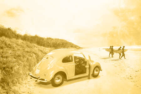 reminisce: Faded Grainy Film Image Of Surfing In The 1960�s With Four Surfers Walking To The Waves From Their Beach Buggy Stock Photo