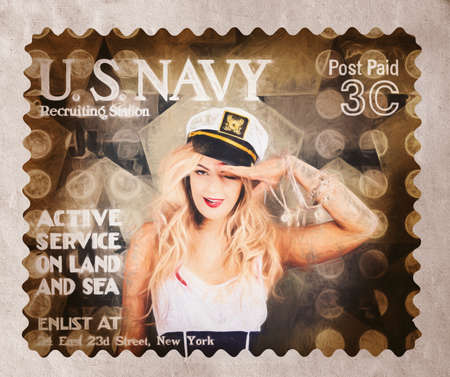 enlisting: Creative fine art illustration - United States ww1 recruitment postage stamp of a navy sailor girl saluting at an enlisting station. Posted pin-ups