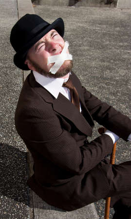 voiceless: Gagged A Cross The Mouth A Vintage Man Screams In The Silence Of The Oppressed