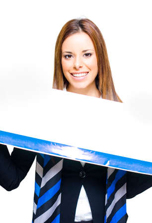 commercialism: Cute Young Business Sales Woman Holding And Presenting A Blank Copyspace Sign In A Show Of Business Advertising Publicity And Promotion, White Background