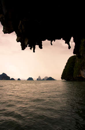 oceanic: Stalactites Fall From The Roof Of The Caves At Panak Island With A Backdrop Oceanic Landscape View Of Thailands Islands