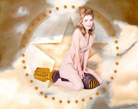 estrellas  de militares: Retrato de diseño antiguo de una chica pin-up retro caliente con un vestido de lunares sentado en disparos de misiles de guerra a través de un cielo estrellado militar. Bomba rubia