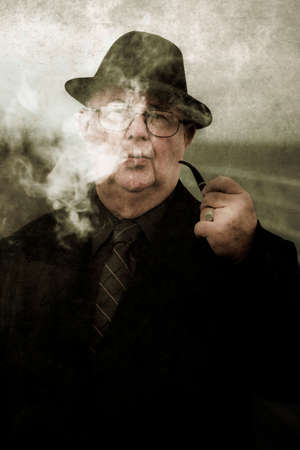 tubby: Vintage And Textured Portrait Of A Pondering Private Eye Thinking And Philosophizing Up A Plot And Motives To Unravel Unsolved Mysteries