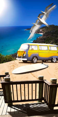 jalopy: Beautiful Summer Surfing Landscape Of A Retro Beach Van And Surf Board On A Scenic And Picturesque Dune Overlooking The Ocean In A Sports And Seascape Concept