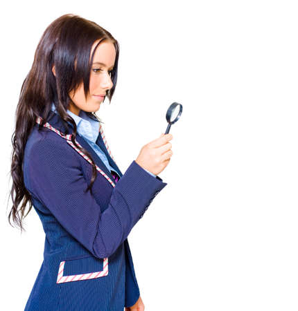 scrutinise: Young Cute Business Woman Wearing Blue Suit Holding Spy Glass While Searching Finding And Developing New Business Markets And Strategies, Isolated On White