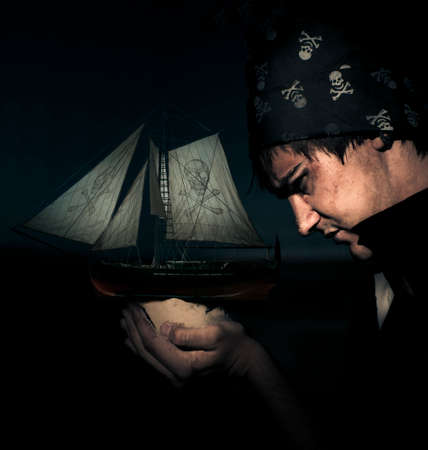 malevolent: Side On Profile Of A Dark Pirate Wearing Skull And Cross Bones Bandana Holding A Pirate Ship Or Boat Under The Moon Light In A Nautical Maritime Piracy Portrait