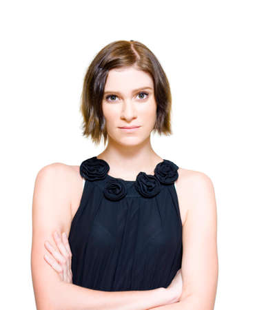 overwrought: Young Woman With Short Hair Wearing Black Formal Dress Looking Nervous And Anxious Over A Upcoming Event Or Occasion, Isolated On White Background