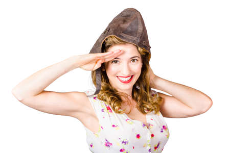 fighter pilot: Aviation pin up lady saluting with smile and perfect make up in fighter pilot cap on white background. Military pinups