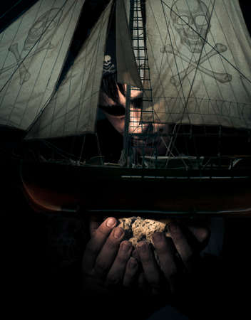 privateer: Gigantic Evil Pirate Takes Hold And Captures Another Pirate Ship In Hand While In The Darkened Sea Of Dead Mans Ocean In A Victory Of Conquest Conceptual