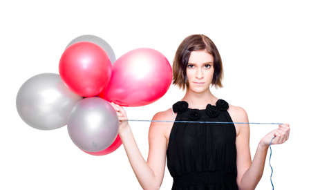 merrymaking: On White Image Of A Beautiful Young Lady Wearing Elegant Evening Dress While Holding A Bunch Of Red And Silver Balloons During A Formal Event