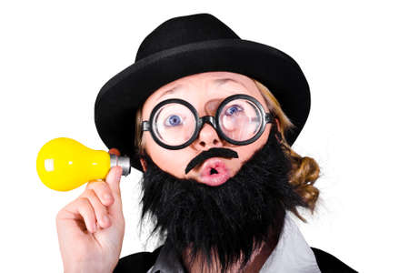 rimmed: Female Scientist With Fake Beard And Mustache Holding Yellow Light Bulb Stock Photo