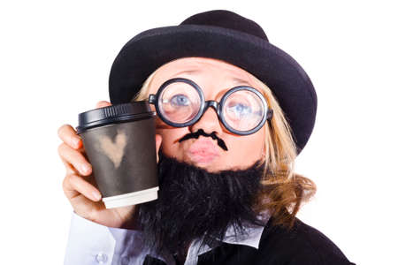 caffeinated: Funny young woman disguised as man with beard holding cup of coffee with love heart, white background