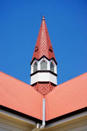 church steeple: A Narrow Pointed Church Steeple Aimed Skywards Stock Photo