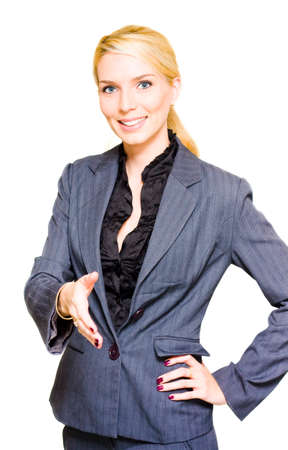 successes: Corporate And Professional Young Business Woman In A Handshake Gesture Of Congratulations And Praise During A Business Meeting Isolated On White Background