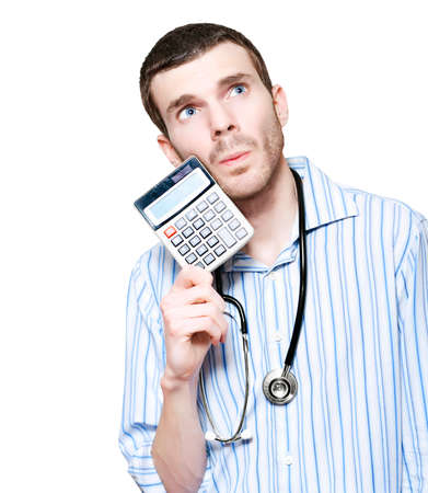 hospital fees: Isolated Male Medical Doctor Counting Financial Cost Of Health While Holding Calculator On White Background Stock Photo