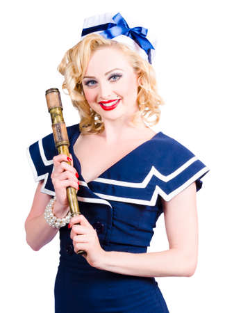 fashion photography: Smiling young fashionable woman holding a telescope