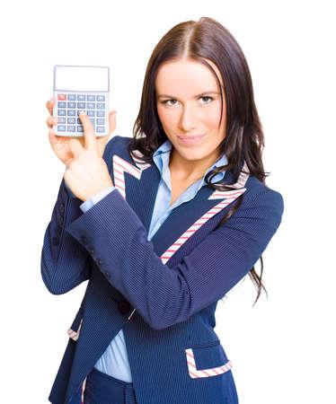teclado num�rico: Retrato aislado de una calculadora Contabilidad Sostiene Una joven magn�fica Mujer de negocios Contador Con espacio para texto en N�mero de visualizaci�n en el fondo blanco Foto de archivo