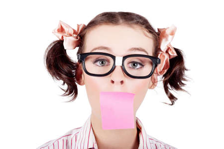 notelet: Surprised Female Admin Assistant Taking Telephone Message With A Stick Note Paper Covering Mouth On White Background Stock Photo