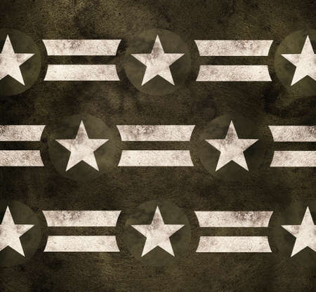 wwii: Pride Power Strength, military stars and stripes on green grunge background Stock Photo