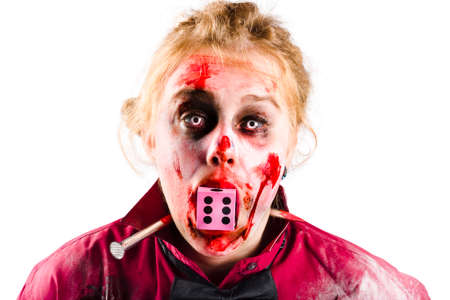 Portrait of a bloody and battered woman with a spike through her neck and a dice mouth. Unlucky