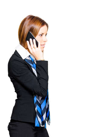 mobile telephone: Isolated Professional Sales And Marketing Business Woman Wearing Business Suit While Talking Corporate Deals And Selling Services On A New Mobile Telephone