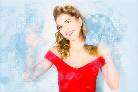 suds: House working pinup woman from 1960 cleaning glass window pane with blue dotted cloth and lathered detergent suds. Pinup with dream