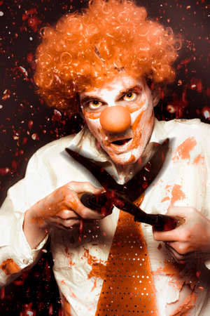 vindictive: Manic Clown Wielding A Pair Of Garden Shears While Killing In Murderous Revenge In Blood Rain