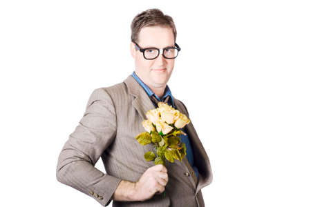 Portrait Of Businessman Holding Bouquet Of Yellow Roses