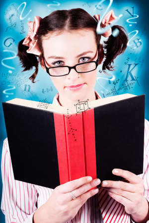 Creative Portrait Of A Young Intelligent Girl Wearing Glasses While Revising Study Notes Flying Out Of A Book In A Depiction Of University Exam Cramming