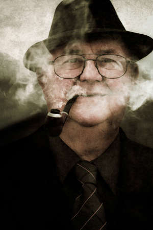 smoldering: Grunge Photograph Of A Retro Crime Scene Investigator Displaying A Mystifying Expression While Smoking A Pipe In A Haze Of Smoldering Vagueness