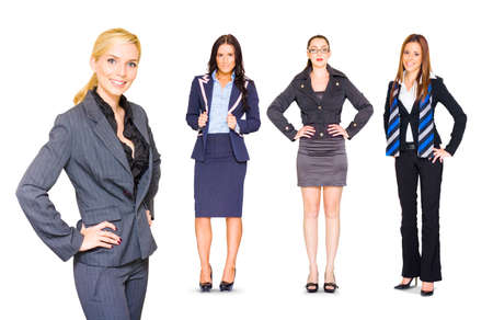 professional people: Happy Smiling Professional Team Of Four Young Female Business People Standing Confidently In Full Body And Half Body Portraits, Isolated Over White Background