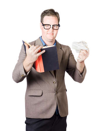 Portrait Of A Businessman Tearing Off Page From Book