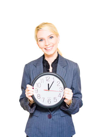 Isolated Display Of Efficiency Punctuality And Professional Time Planning A Happy Smiling Corporate Business Woman Worker Holds A Clock, White Background Stock Photo