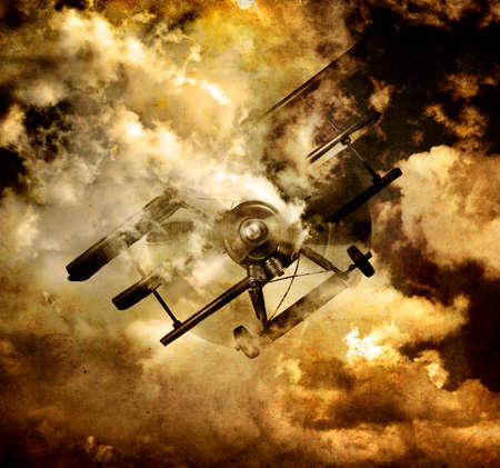 bellowing: War Fighter Tri Plane Bellowing Burning Smoke From An Overheated Engine While Going Down In An Explosive Cloudy Scene In A Vintage World War Sky Scene Stock Photo