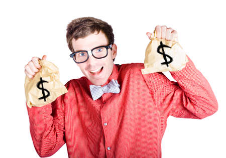 taxable: Excited male accountant holding money bags with dollar signs in a tax return concept on white background
