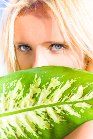 furtive: Young Beautiful Blonde Girl With Stunning Blue Eyes Looks Out From Behind Large Green Leaf With Expression Of Mystery And Untamed Passion Stock Photo