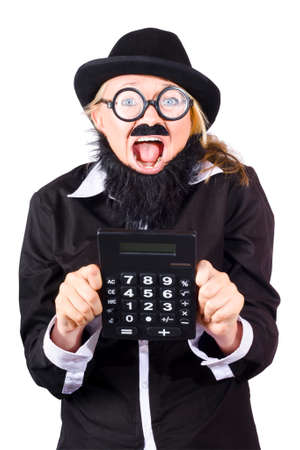 rimmed: Excited woman in disguise wearing bowler hat, fake mustache and beard and wide rimmed glasses holding large electronic calculator