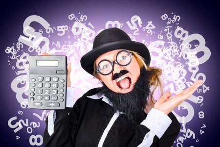 financial controller: Image of a super excited male financial controller holding calculator showing credit surplus with finance growth. Numbers and figures background