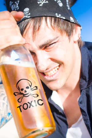 seaman: Alcohol Abuse Concept Sees A Drunk Seaman, Sailor Or Pirate Enjoying A Toxic Chemical Beverage Of Spirits Outdoors In The Sun
