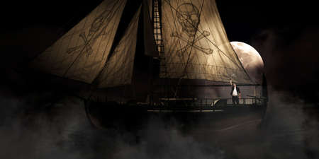 ghostly: Misty Moonlight Seascape Scene Of A Pirate On A Haunted Ship Moving Out Into The Dark Ocean In A Scary Spooky And Eerie Halloween Ocean Scene Stock Photo