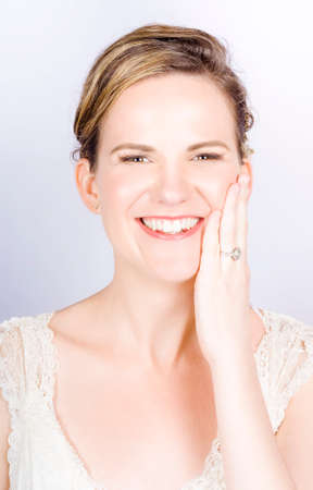 depiction: Face Of A Smiling Bride With Perfect Makeup In A Depiction Of Wedding Make-up
