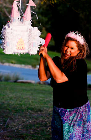 pinata: A Princess Smashes Up Her Pinata Castle In A Home Wreaking Rage