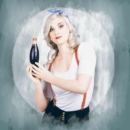 gaseosas: Anuncio del vintage de una señora joven hermosa que sostiene la soda bebida retro. Ilustración de fondo