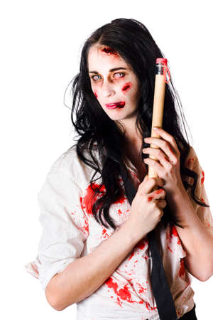 body writing: Half body portrait of blood covered undead school teacher with large pencil, creative fiction writing concept over white background Stock Photo