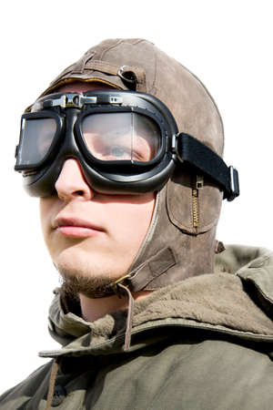 fighter pilot: Isolated Portrait Of A Armed Forces Fighter Pilot