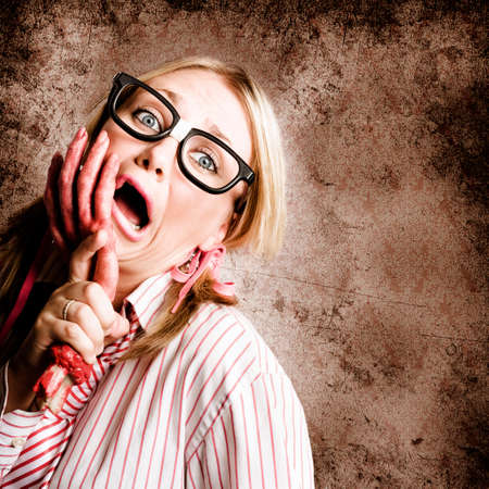 going crazy: Exhausted And Stressed Woman Going Crazy At Work When Under The Attack Of Frustration Stock Photo