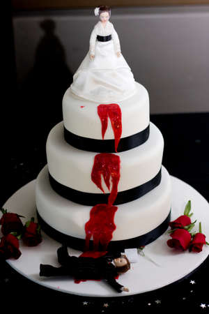 grisly: Killer Bride Wedding Cake, With A Groom Laying Dead And Slain Holding A Pre Nuptual Agreement In Hand